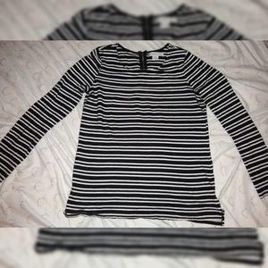 Striped zipper back shirt